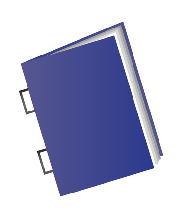 Vector illustration of a saddle stitch isolated on white background. A magazine or a book icon with a blue cover.