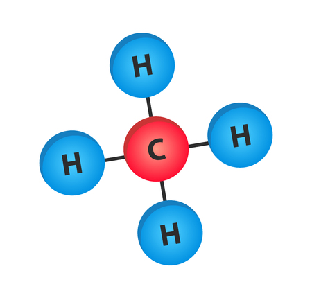 Vector illustration of methane molecules - structural formula CH4. Illustration of a chemical compound - organic chemistry.