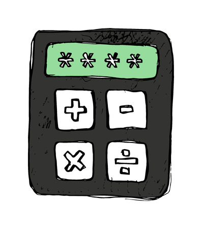 Vector hand-drawn illustration of a simple calculator icon with adding, subtracting, multiplying, and dividing functions. Icon for math or economic subjects. Иллюстрация