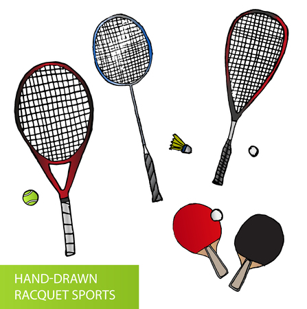 Set of hand-drawn racquet sports - equipment for tennis, table tennis, badminton and squash - rackets and balls