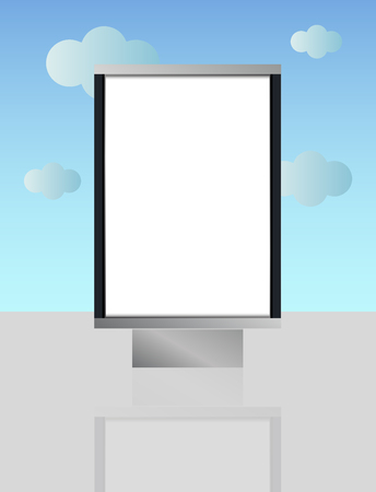 blank lightbox in the street - cartoon illustration of citylight. In the background is sky with clouds. Illustration