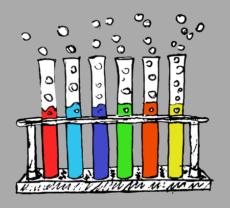 hand-drawn chemical test tubes - vector set of chemical laboratory equipment Stock Illustratie