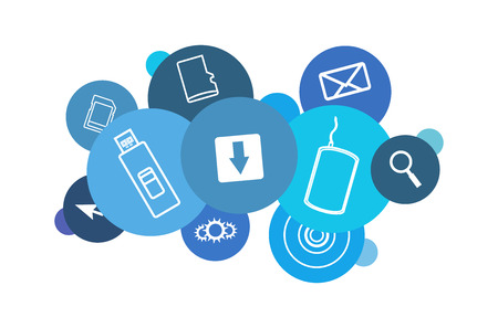 Vector blue cloud comprised of computer and data icons isolated on white background. cd, sd card, micro sd card, usb flash drive, magnifier, email, cursor, cogwheels, hard drive and download icon. Illustration