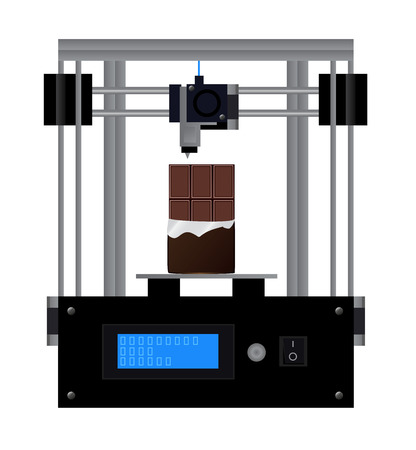 3D printer prints chocolate. fused deposition modeling - vector scientific illustration of black repRap 3D printer with printed chocolate - modern production.
