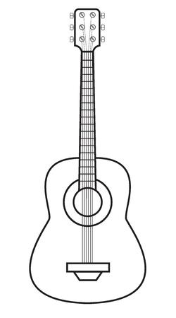 Illustration vectorielle d'une guitare isolée sur fond blanc Vecteurs