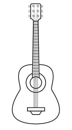 Vector illustration of a guitar isolated on white background