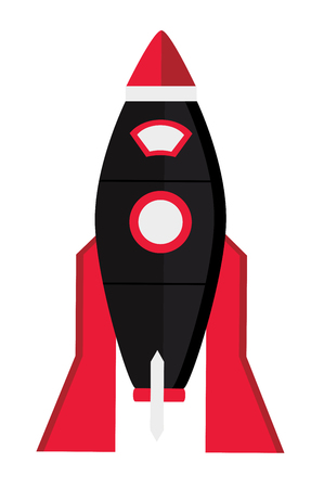 Vector illustration of red space isolated on white background. Space rocket with small windows. Иллюстрация