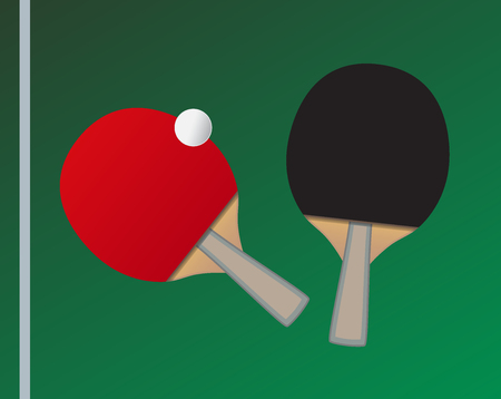 Vector Table tennis bats and ball with the thematic background