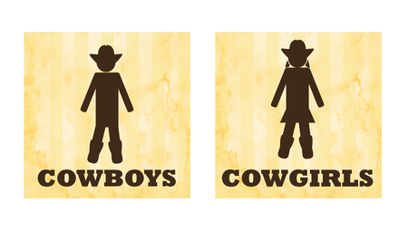 Vector icons of cowboys and cowgirls toilet or wc signs