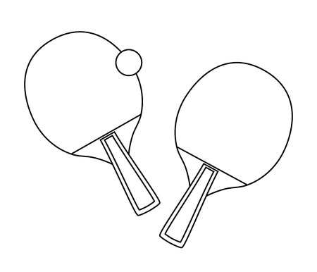 Vector outline design of table tennis isolated on white background. Bats and ball. Line icon of sport. Иллюстрация
