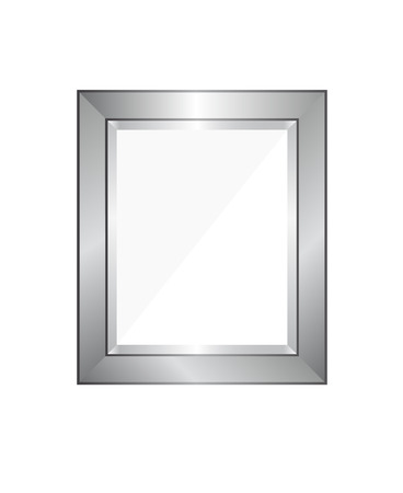 Blank silver modern picture frame. Template ready to insert an image, photo, painting, poster or some different decoration for example, in a museum.