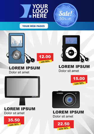 Vector poster or flyer layout with electronic products and with big sale in editable format.