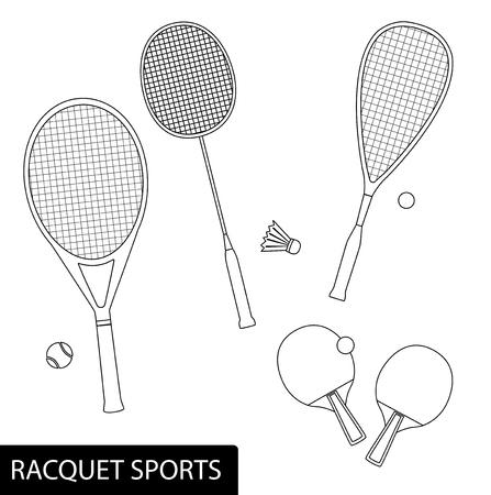 Reihe von Schlägersportarten im Umrissdesign - Ausrüstung für Tennis, Tischtennis, Badminton und Squash - Schläger und Bälle.