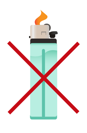 icon of crossed out cigarette lighter - do not fire the fire or stop smoking Illustration