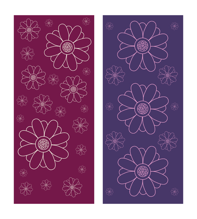 Set of decorative floral texture backgrounds in purple and violet colors. Pattern vector illustration isolated on white background. Size of roll up.