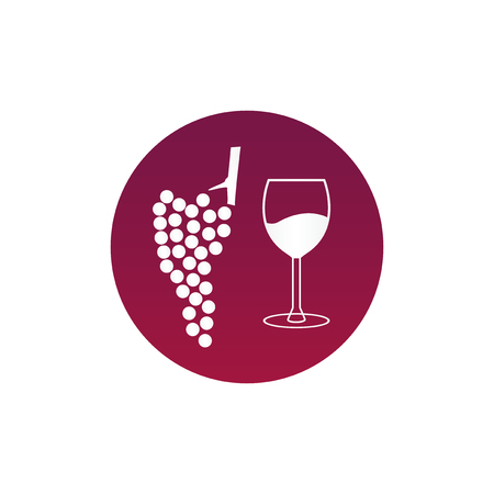 Modern wine grapes icon. Purple wine icon in circle isolated on white background. The symbol is suitable for winery, wine bar or vineyard. Ilustração