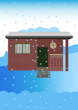 Vector old garden shed in winter with snowy landscape. Snow and snow flakes in the snowy countryside.
