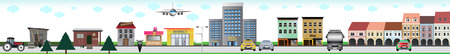 City with all kinds of elements - garden shed, school, shop, hotel, square, means of transport and other.