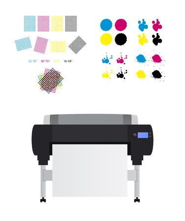 printing set - printing rosettes, Large inkjet plotter printer and cmyk blots Vector Illustration