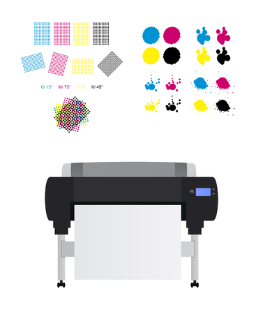 printing set - printing rosettes, Large inkjet plotter printer and cmyk blots