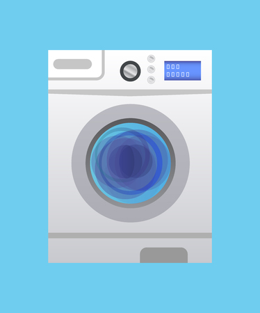 Vector icon of washing machine for washing laundry in every household. Washing machine on blue background.