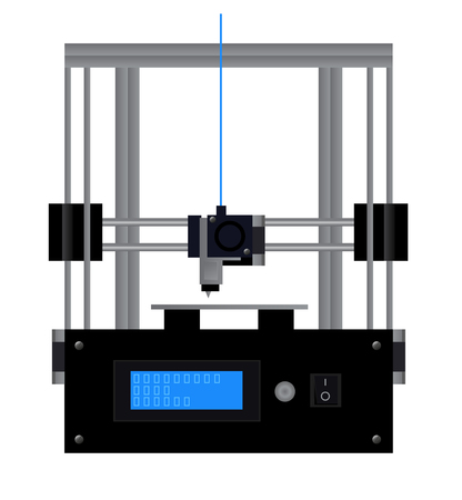 3d print - fused deposition modeling - vector scientific illustration of black RepRap 3D printer. 일러스트