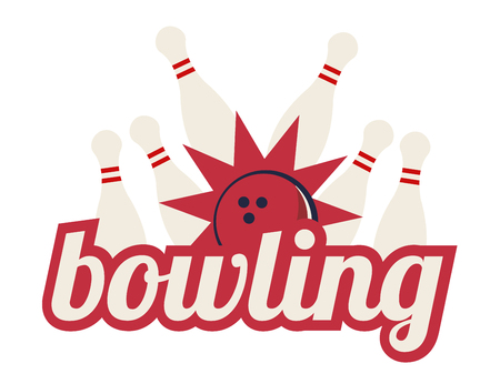 Vector illustration of bowling strike with big sign. Bowling pins and ball. Illustration