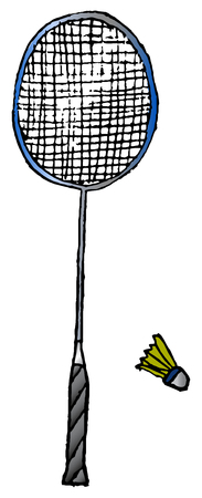 hand-drawn badminton racket and shuttlecock isolated on white background