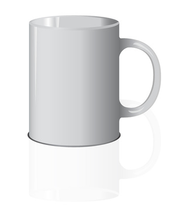 realistic white cup with shadow isolated on white background. It can be used as a mock up.