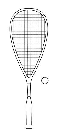 Conception de contour vectoriel de raquette de squash ou de raquette et balle - équipement de sport Vecteurs