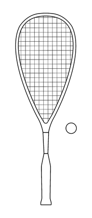 Vector outline design of squash or racketball racket and ball - sport equipment Banco de Imagens - 106541133