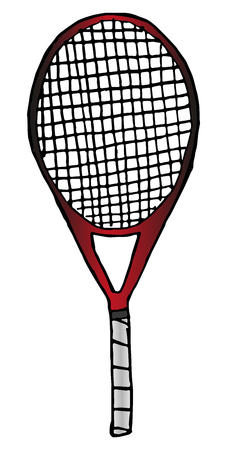 Vector hand-drawn tennis racket isolated on white background