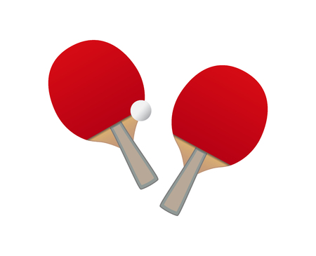 Vector table tennis  red bats and ball