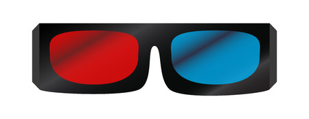 Vector illustration of black 3D cinema glasses isolated on white background. Red and blue glass for 3D effect. Иллюстрация