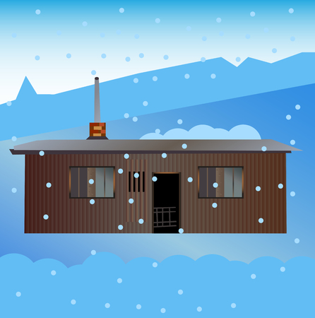Old garden shed in winter with snowy landscape. Snow and snow flakes in the snowy countryside. Illustration