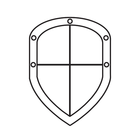 Vector safety shield icon in outlines isolated on white background Иллюстрация