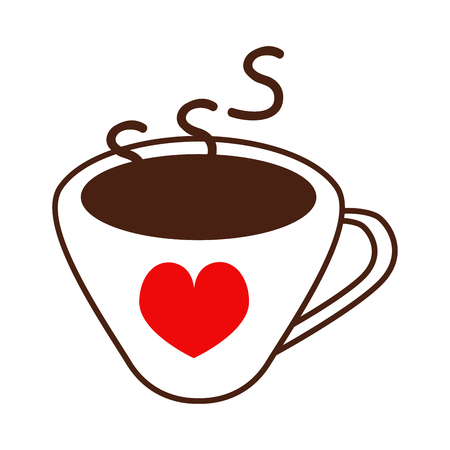 Vector line icon of brown coffee cup with red heart. design for coffee lovers or coffee shops.