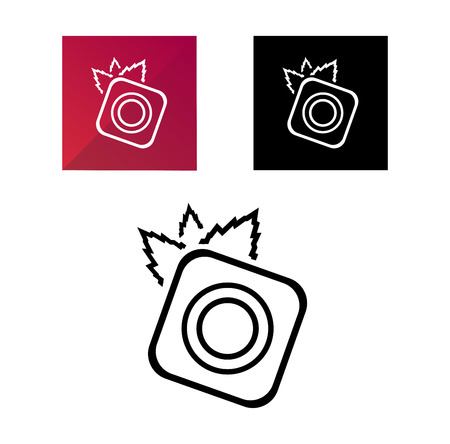 Nature photography symbol in three variants - camera with leaves