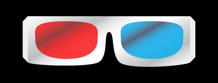 illustration de lunettes de cinéma 3D blanches isolées sur fond noir. Verre rouge et bleu pour un effet 3D. Vecteurs