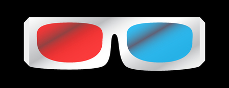 illustration of white 3D cinema glasses isolated on black background. Red and blue glass for 3D effect.