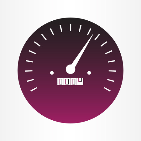 Vector illustration of speedometer gauges in purple color that characterizes speed or performance of car, instrument, internet or service. Иллюстрация