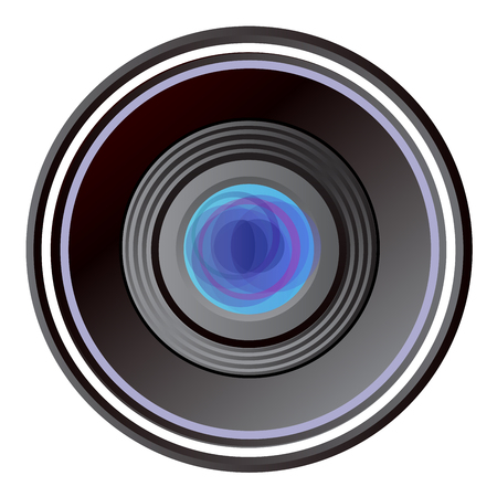 Camera old lens isolated on white background