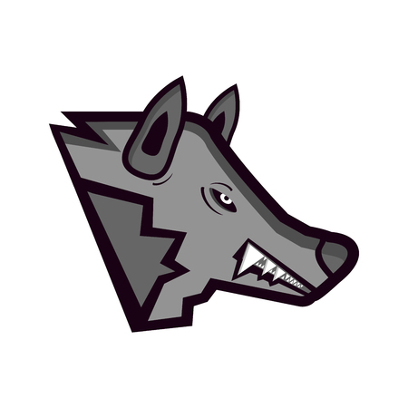 head of enraged or angry wolf isolated on white background - sport or esport mascot for team.
