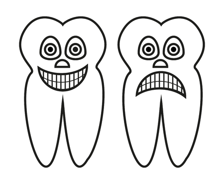 outline cartoon illustration of healthy tooth and rotten tooth Иллюстрация