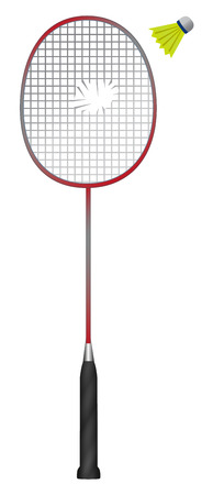 Badminton racket with cracked and shuttlecock isolated on white background