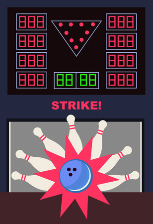 illustration of bowling strike with star. Bowling pins and ball with play area and display.