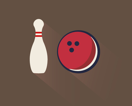 Retro bowling flat icon - skittle and ball with shadow and brown background