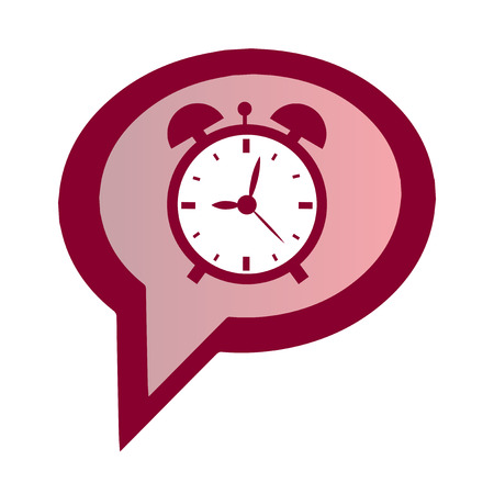 clock in red speech bubble. Thinking about getting up or sleeping. Isolated on white background. Illustration