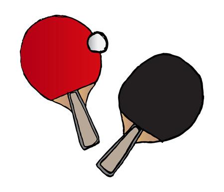 hand-drawn table tennis bats and ball