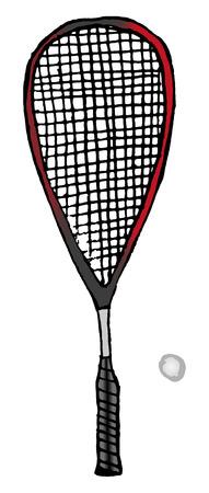raquette et balle de squash ou de raquette dessinée à la main - équipement de sport